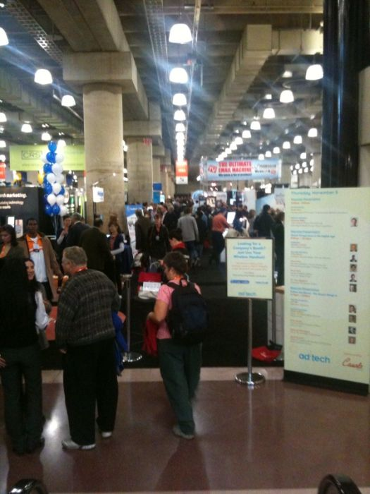 A picture showing the active crowd of marketers and publishers on the floor at Adtech, New York.