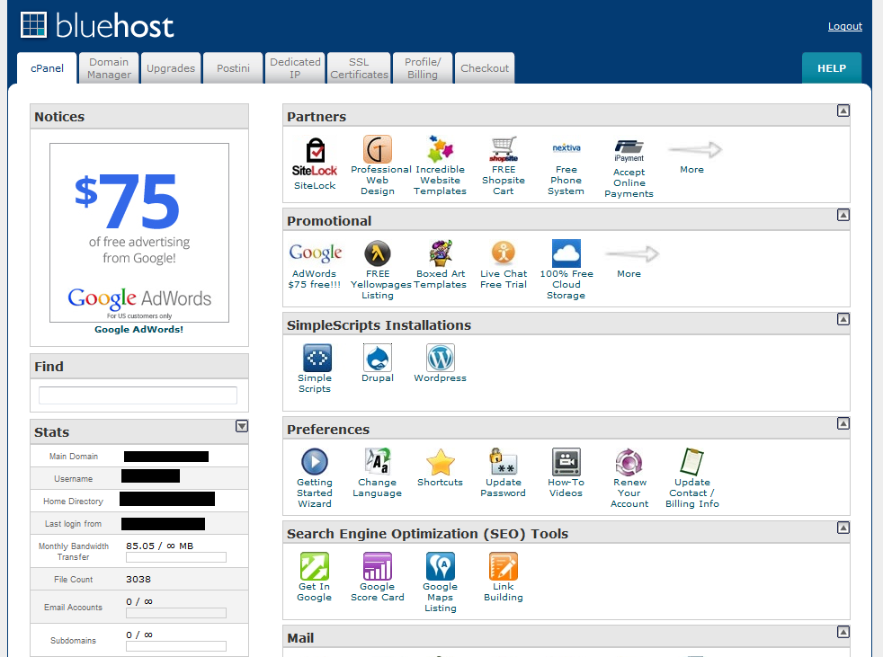 Screen Shot of the BlueHost cPanel Control Panel