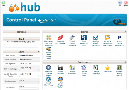 Web Hosting Hub Control Panel Screen Cap