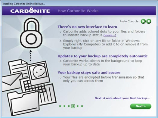 Carbonite Backup software wizard