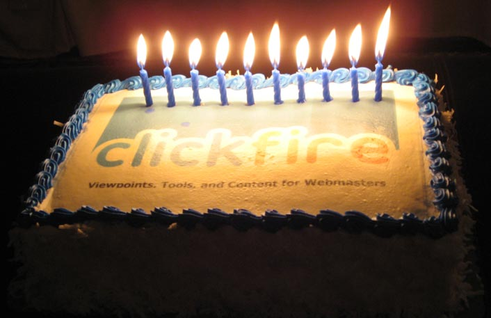 Clickfire 10th Birthday Cake