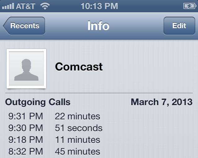 Comcast Phone Time