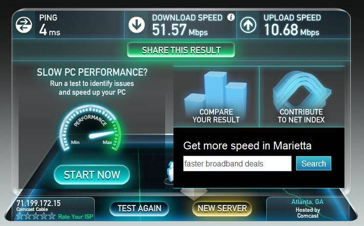 Comcast Speed (Speedtest.net)