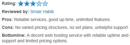 Example of a Bluehost custom review