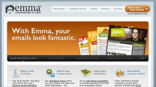 Emma's designs mimic its own web site: fun and attractive.