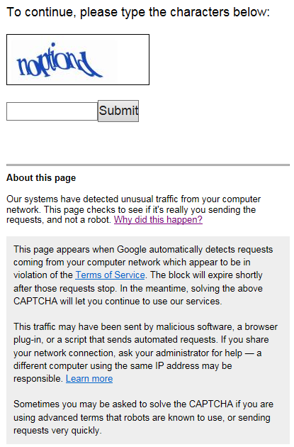 Google Captcha from Manual Query