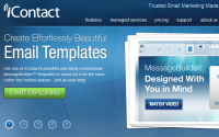 iContact's main page is attractive - and they want your emails to be, too.