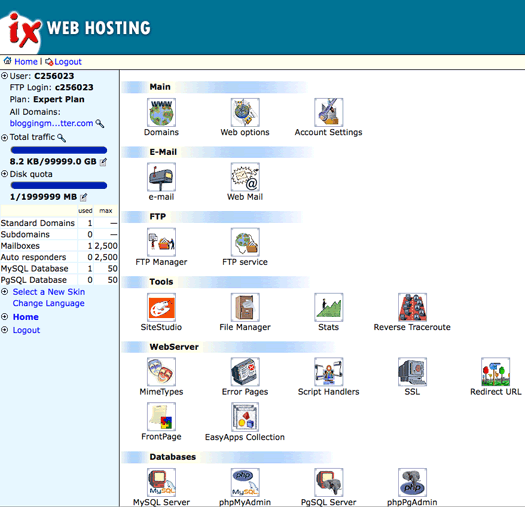 Screen Shot of the IX Web Hosting Control Panel