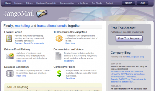 JangoMail's got simplicity as well as some really nice specialized services.