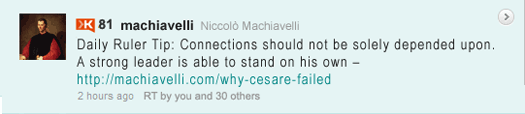 Machiavelli Tweet: Daily Ruler Tip