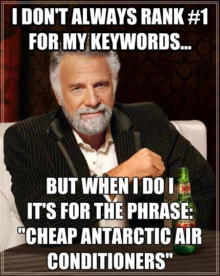 Most Interesting Man in the World... I don't always rank #1 for my keywords, but when I do its for...