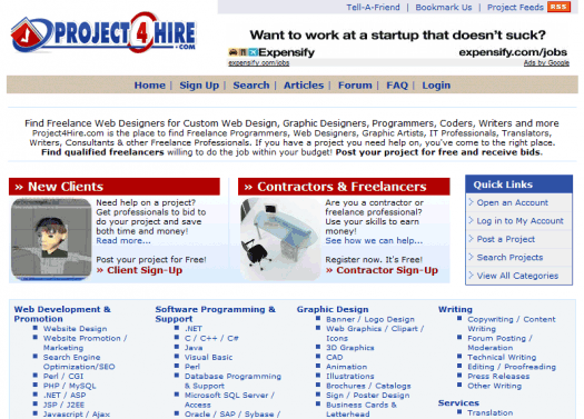 Project4Hire's main page - and a glimpse at all of the types of projects available.