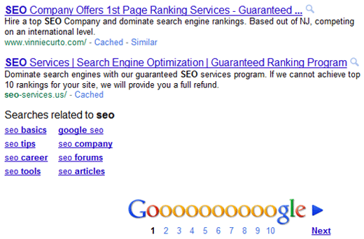 Guaranteed SEO in Google First Page SERPs