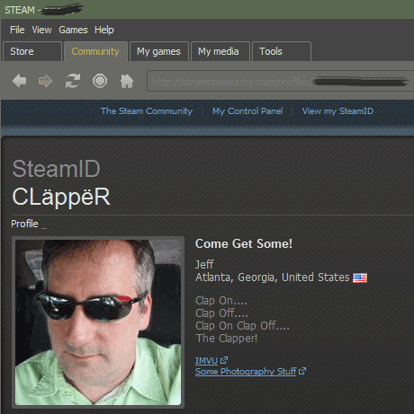 Steam Profile of my Nemesis, Clapper