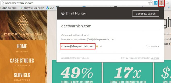using email hunter to find emails of influencers