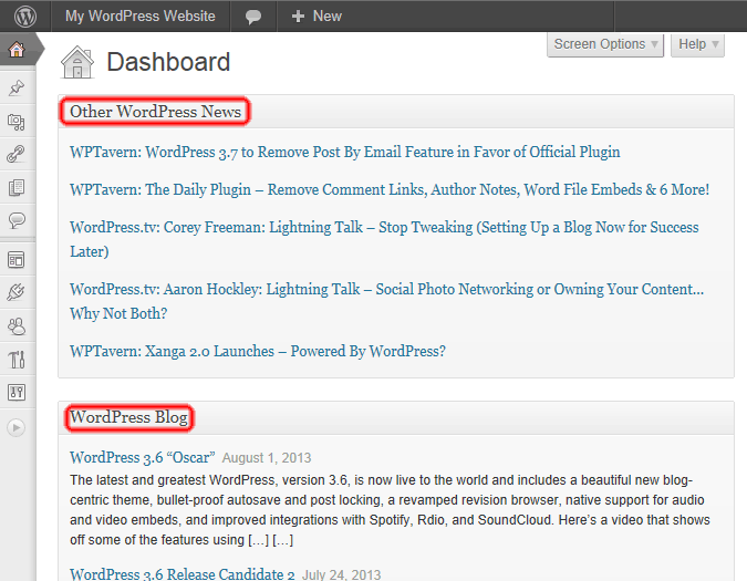 Screen Shot of WordPress Admin Blog and News