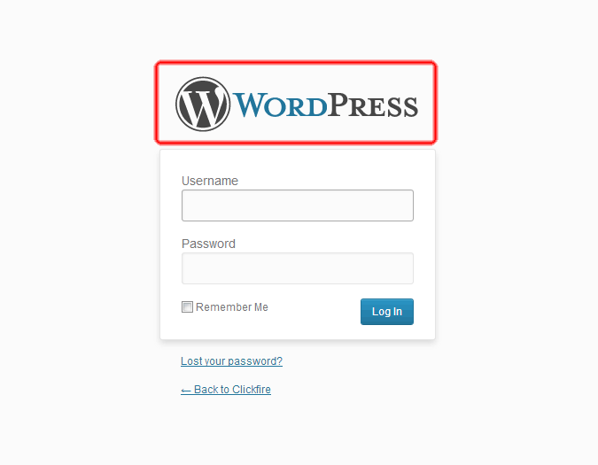 Screen Shot of WordPress Login Links