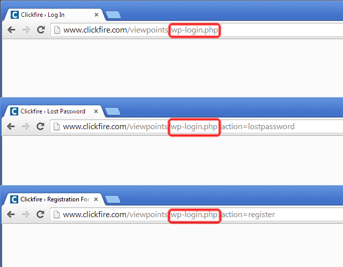 Screen Shot of Login, Register and Lost Password URLs in WordPress