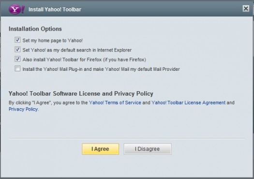 Yahoo Toolbar Install Menu (After Download)