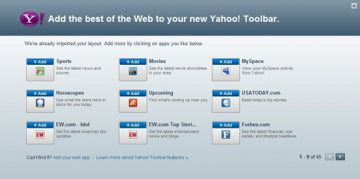 Yahoo Toolbar Startup Options (after download)